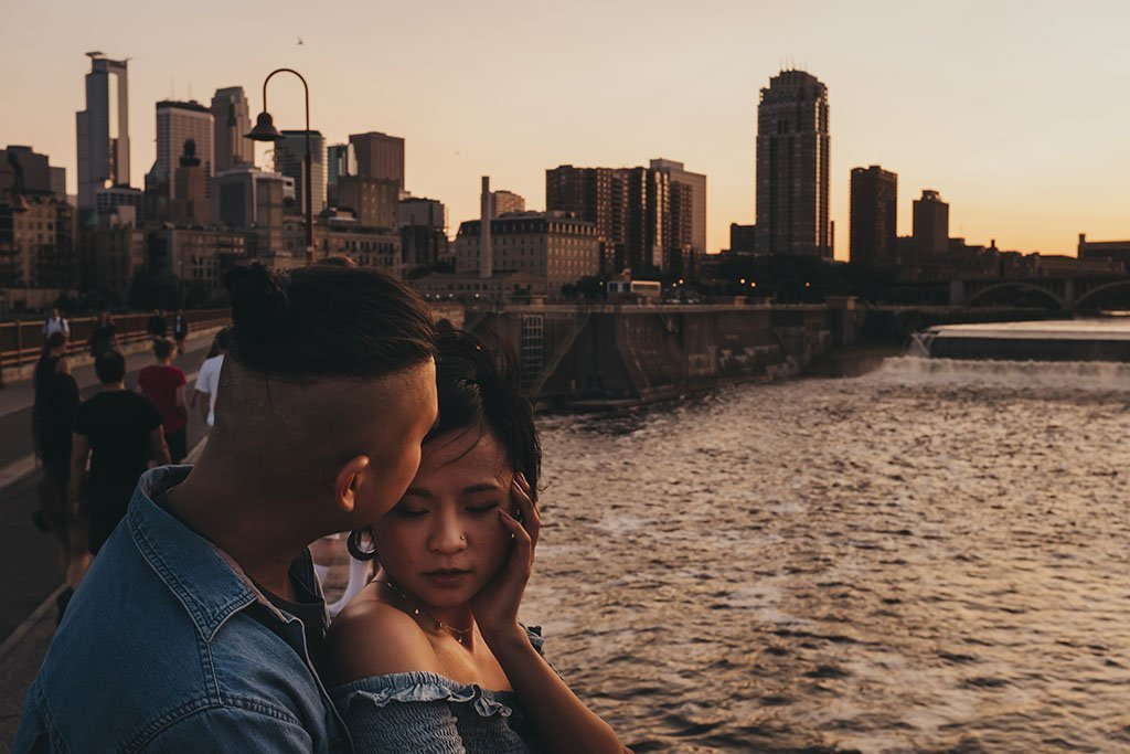 River Stone Arch Bridge Minneapolis Engagement Photographers, couple, Mississippi River, Wedding Photographer, skyline