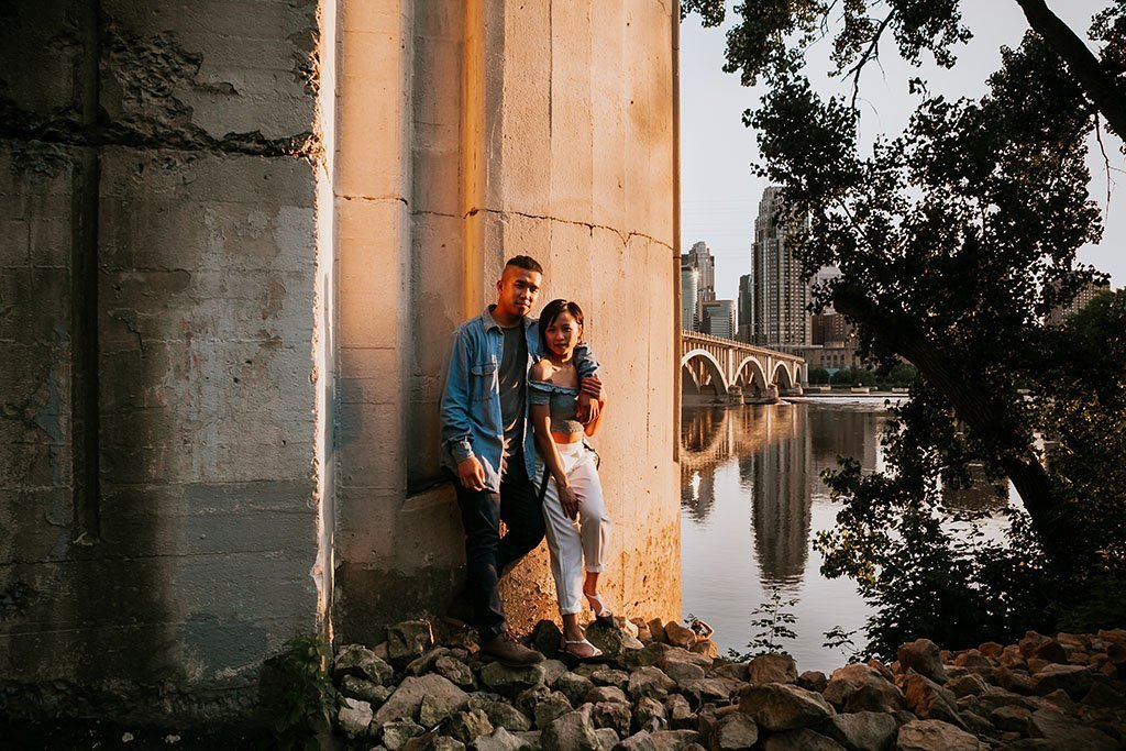 Stone Arch Bridge Riverside Minneapolis Engagement Photographers, Mississippi River, bank, downtown, skyline
