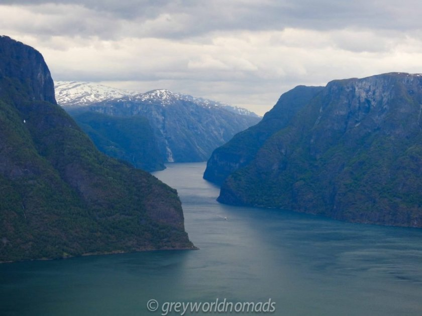 Norwegian Scenic Route Aurlandfjellets is one of the worlds most beautiful roads. The snow road in Norway reveals most spectacular views over Norwegian fjords.