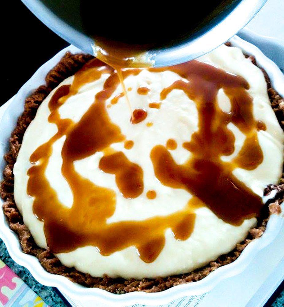 Mars twix ostakaka með karmellusósu