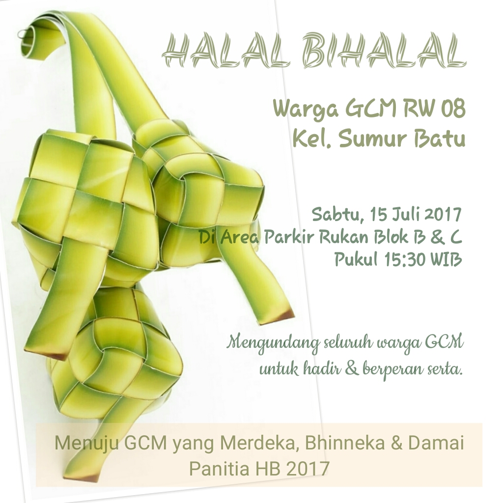 Undangan Acara Halal Bihalal Warga Rw 08 Grhacempakamas Com