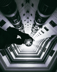 glass ball photography from below