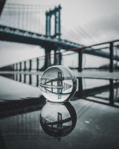 glass ball photography on water