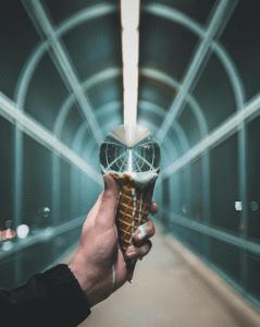 glass ball on ice cream cone photography