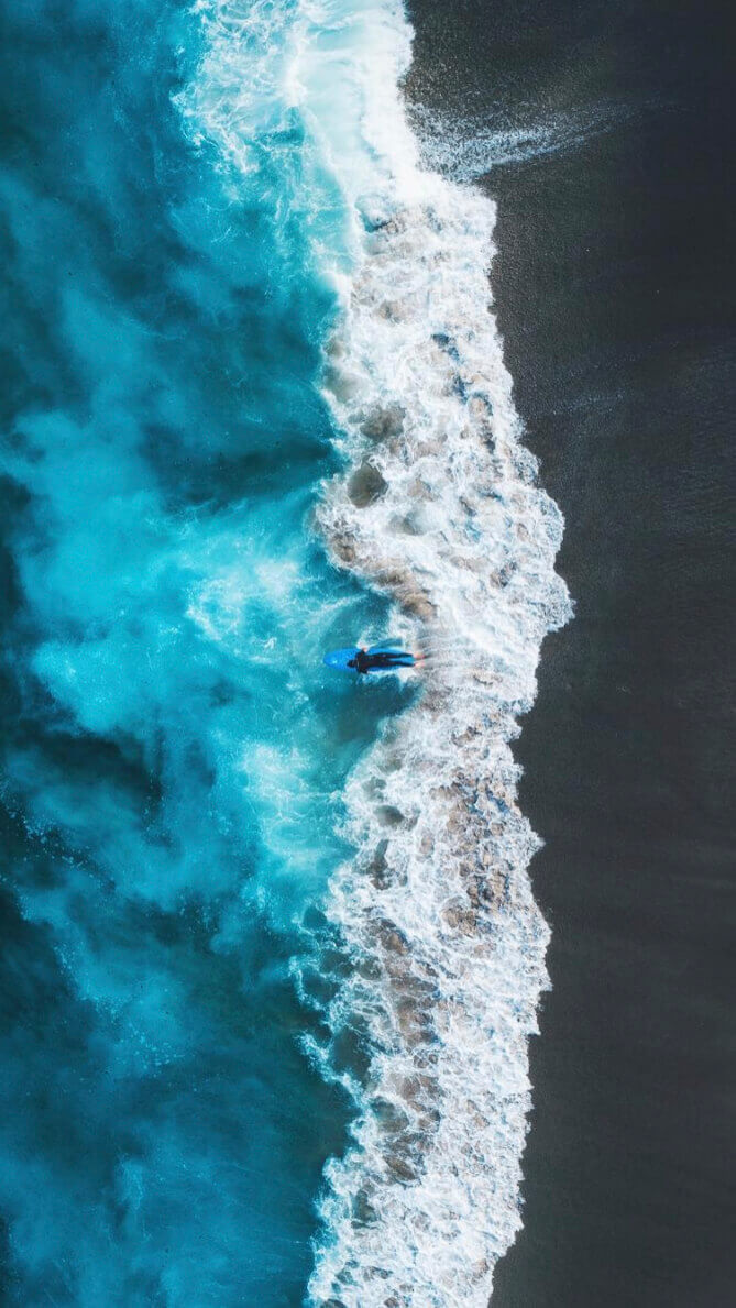 drone image wallpaper waves and surf