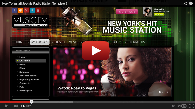 Music FM Joomla Radio Station Template Music Template Gridgum