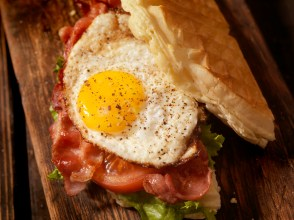 Fried Egg, Bacon, Lettuce and Tomato Waffle Sandwich
