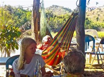 "For the answer to that question, I was led over to to a hammock where the father of the family lay supervising the activities of the restaurant. He pointed to a large mole on his forehead, ""All of my friends, they make a big joke of slapping me on the forehead and then exclaiming, 'La Mosca!' (a fly!),"" he explains, ""and that is why when it came time to name the restaurant, we decided to name it, La Mosca."""