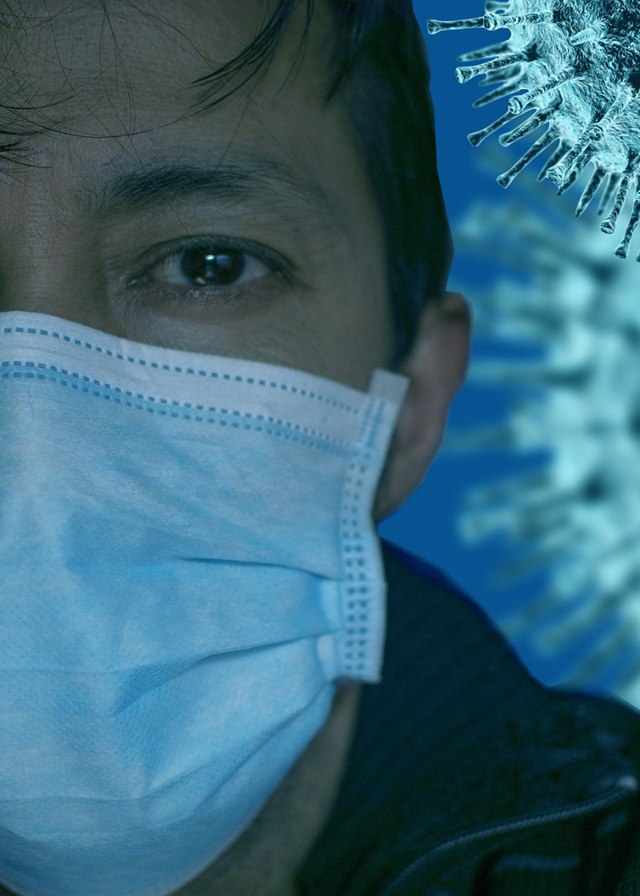 Person with face mask and Corona virus