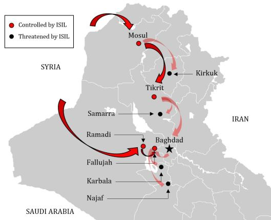 A map of ISIL's movements in Iraq.