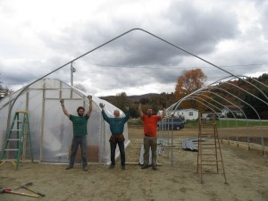 First bow of the 30' by 48' greenhouse frame