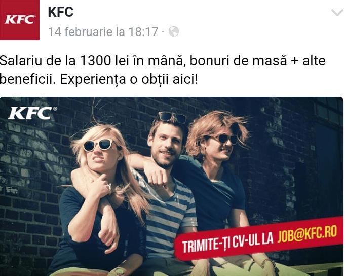 Cât costă meniul la KFC?