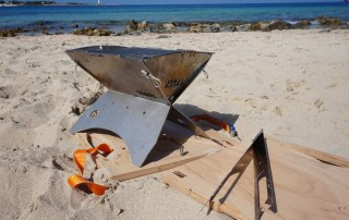 Stainless Steel Charcoal  Grill at the Beach