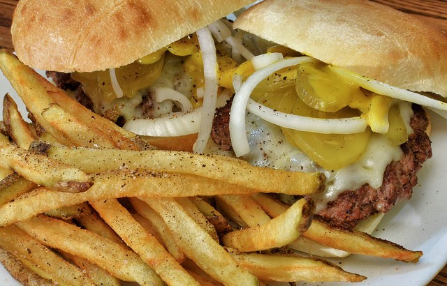burgers with onion and fries