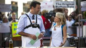 Robyn and Carson Daly make calzones on the grill  on the Today Show- July, 2014.