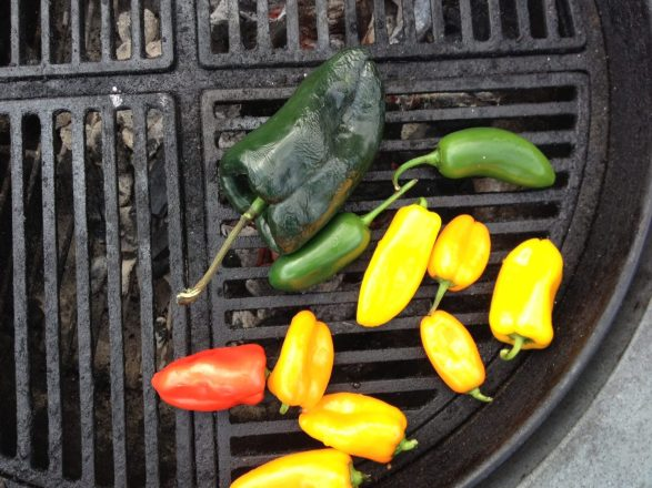 Grill the peppers until they achieve nice char marks on both sides. Once cooled, chop and add to your chili.