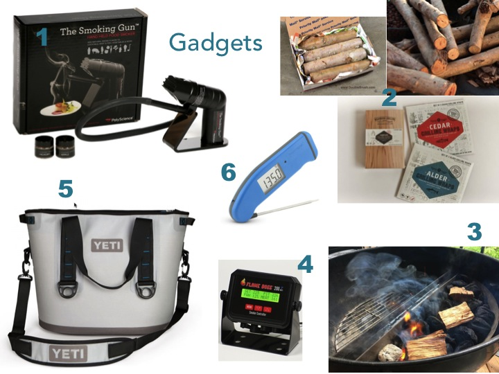 the smoking gun, smoking wood, the slow and sear, the Flam Boss, A Yeti Hopper Cooler and a Thermapen.