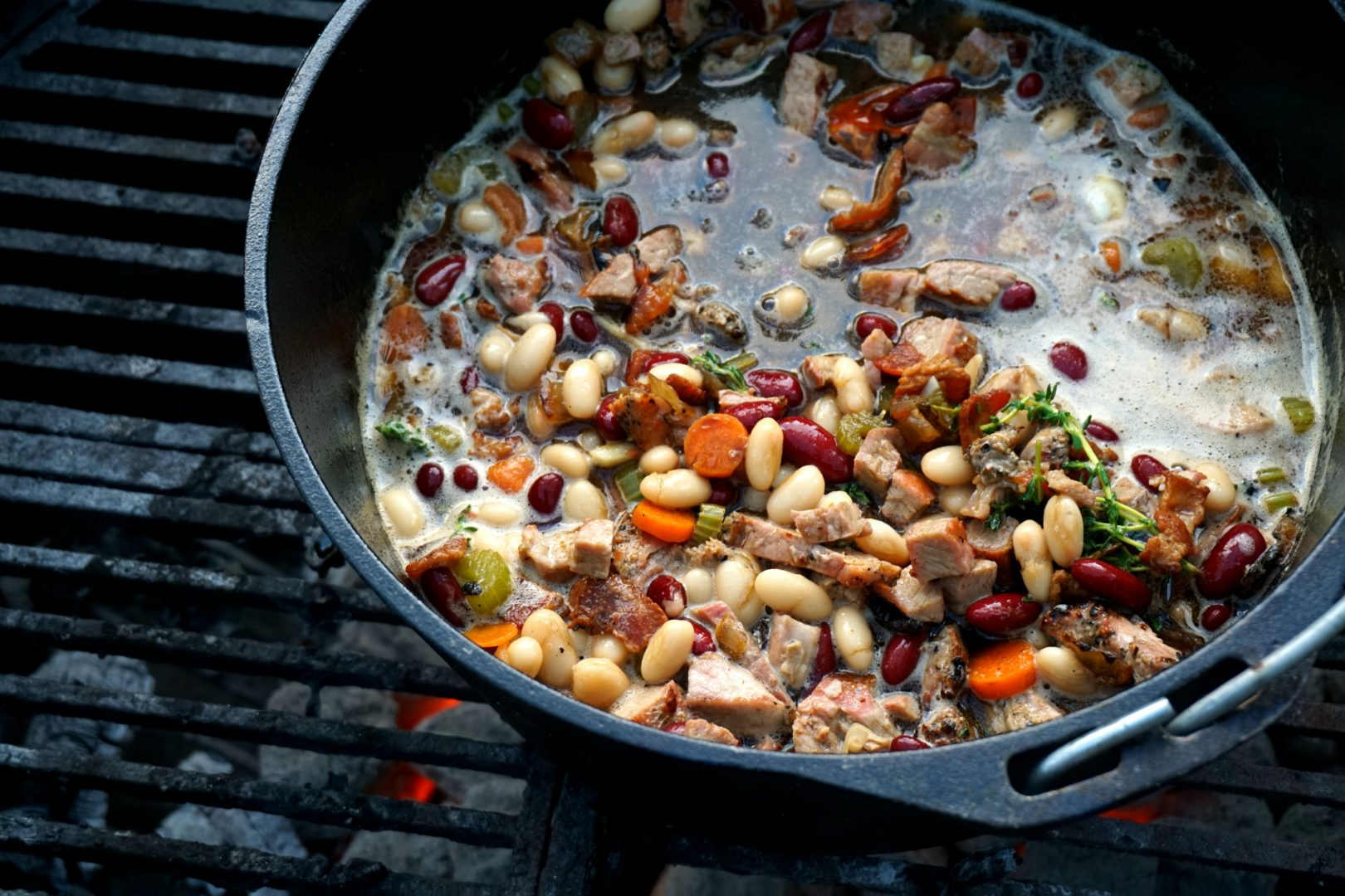dutch oven pork and beans