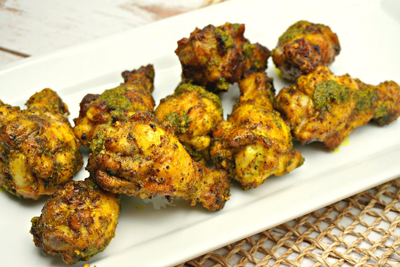 Lemongrass, Cilantro & Garlic Grilled Chicken Wings