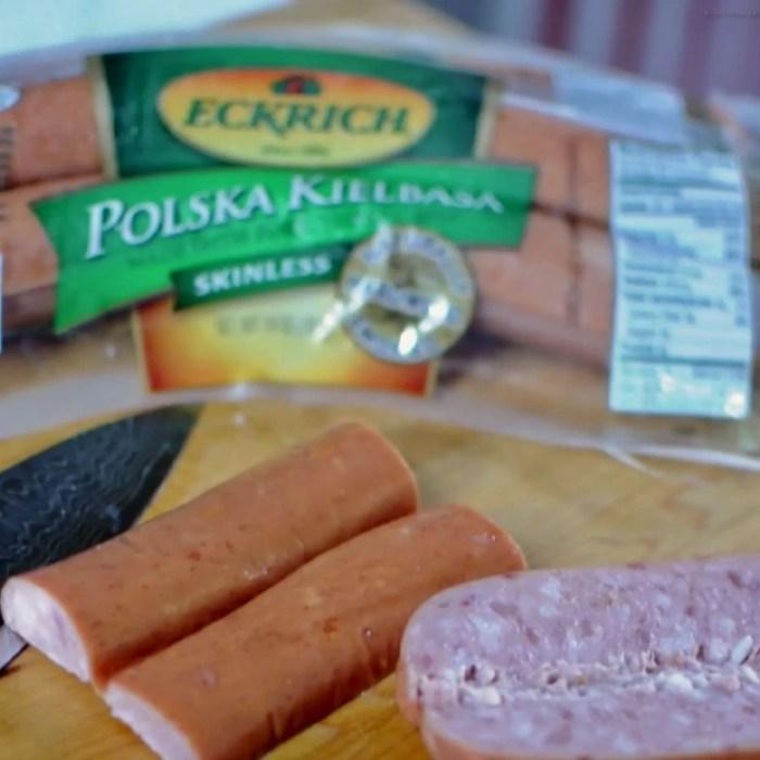Eckrich Polska Kielbasa sliced and ready for the grill