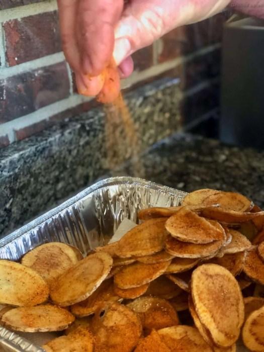 Seasoning the tater chips