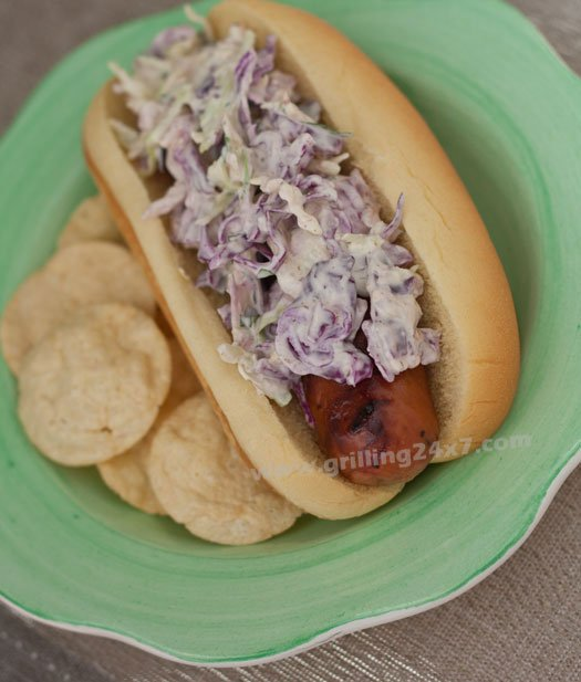 Chicken Sausages with Blue Cheese Coleslaw