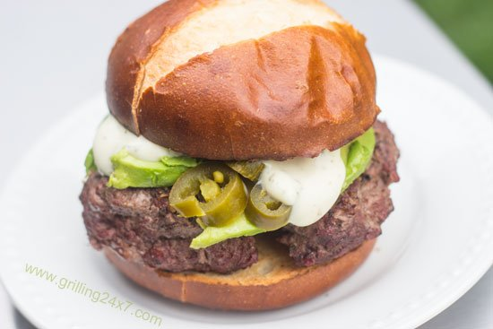Avocado Ranch Burgers With Jalapeno Peppers - Grilling24x7.com