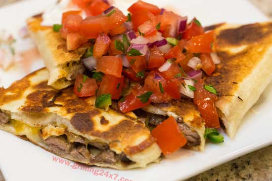 Steak Quesadillas with Fresh Homemade Pico de Gallo