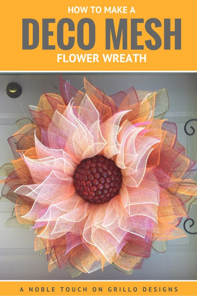 How To Make A Flower Deco Mesh Wreath