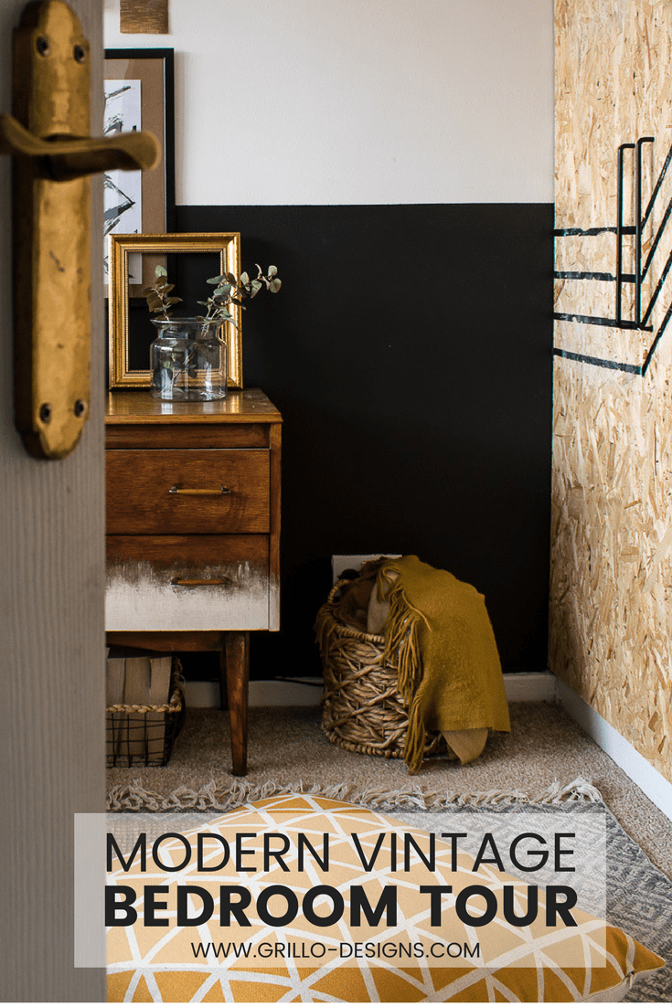 Half Painted Wall In This Eclectic Small Bedroom Makeover Grillo Designs Www Grillo