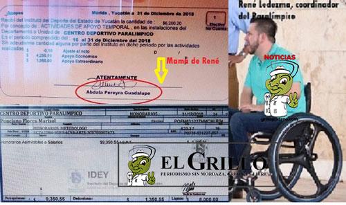 Exhiben cheques del sueldo de la mamá de René en el Paralímpico
