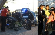 Atropella a un motociclista y huye con todo y vehículo