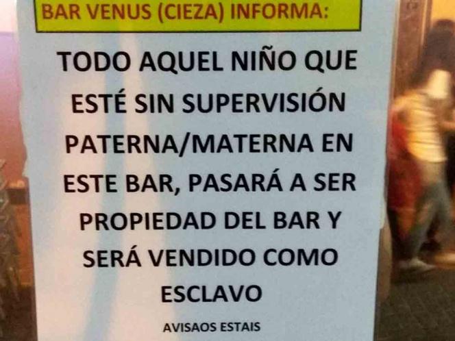Niños sin vigilancia pasarán a ser parte de un bar, advierten los dueños