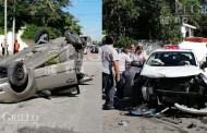 Por ir en sentido contrario, un taxista del FUTV choca y hace volcar a un Fiesta