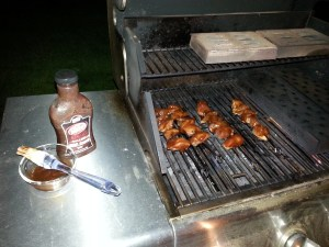 Dr. Pepper & Bourbon chicken on the grill