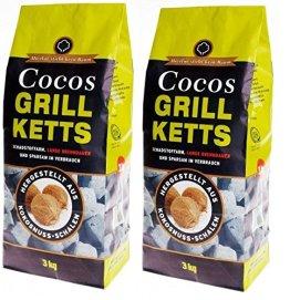 6kg Cocos Grill Briketts Premium Holzkohle Grillkohle aus Kokosnuss - ökologisch -