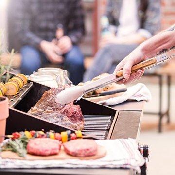 Akazienholz Edelstahl Grillbesteck-Set Barney Barbecue 3 tlg. von Springlane Selection Grillzubehör mit Grillzange, Grillwender und Fleischgabel mit extra-langen Holzgriffen und Aufhänge-Ösen -