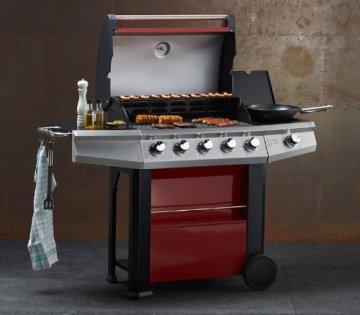 Gasgrill MAXXUS® BBQ CHIEF 7.0 rot - 5 Edelstahlbrenner, Grill mit doppelwandiger Haube, Seitenbrenner, Fettwanne -