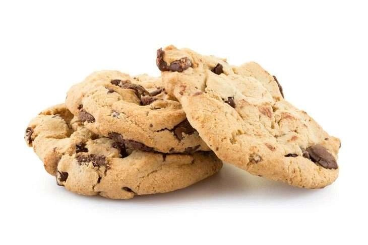 Chocolate chip cookies isolated