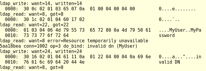 """slapd terminal output containing the username """"MyUser"""" and password """"MyPassword"""""""