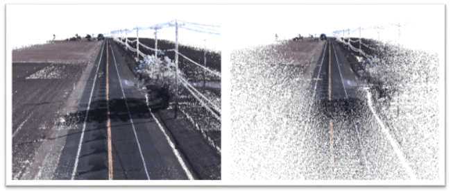 Before and after FME is used to thin a LiDAR dataset of a section of highway.