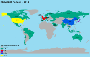 10 Years Data, Map and Charts of Global Fortune 500 Companies