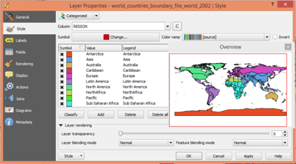 Layer Properties graduated color code world map