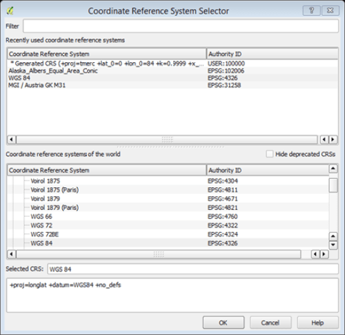 CRS system selector window