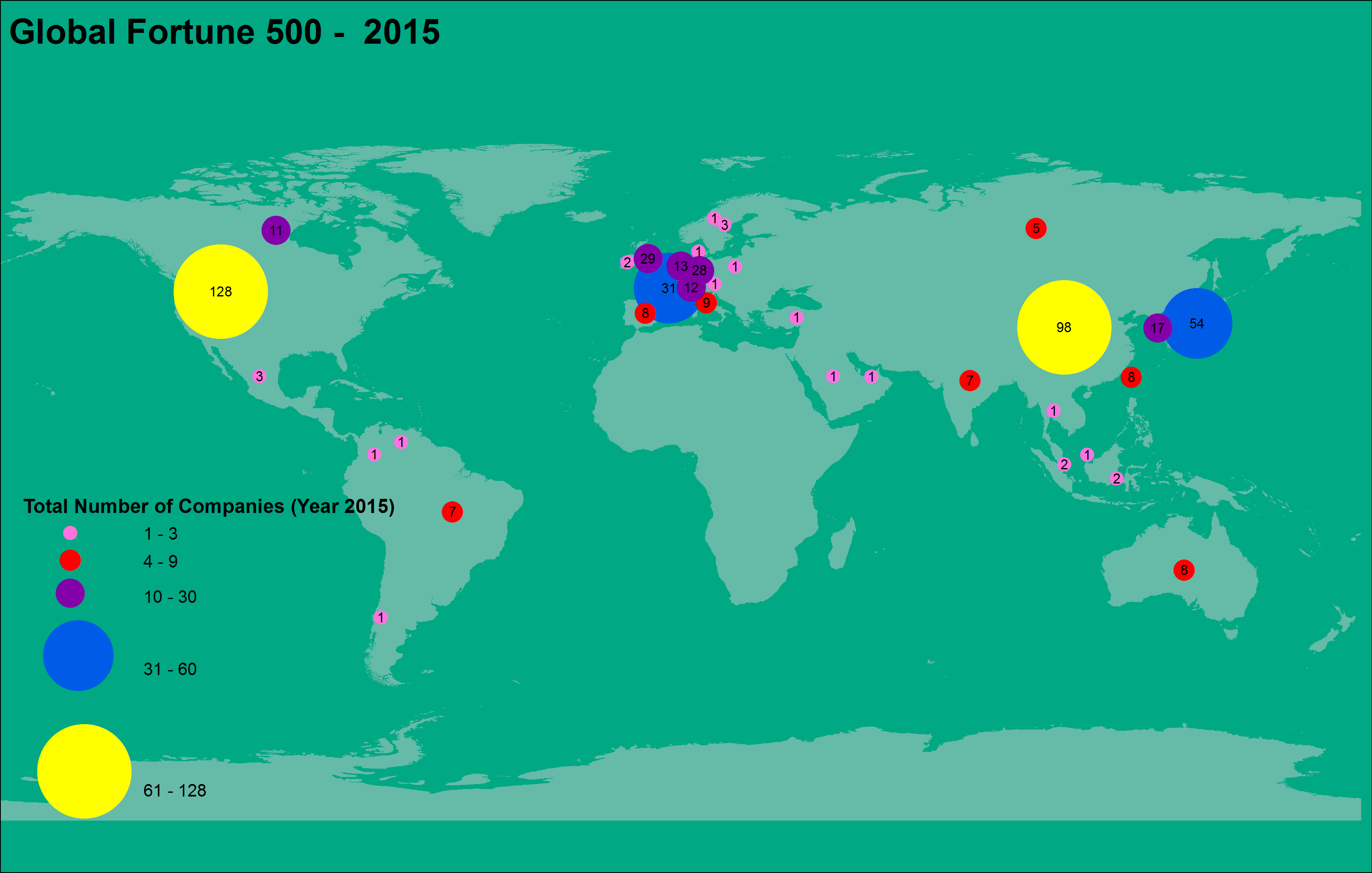 Mapping of 2015 Global 500 – Fortune Companies