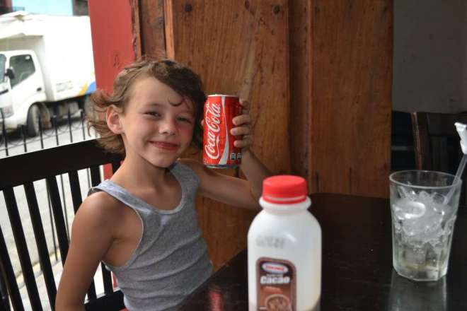 No. Levi is not drinking Coke AND chocolate milk. He is drinking a Coke immediately AFTER drinking a chocolate milk.