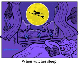 Sleeping witch cat cartoon