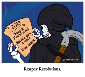 Grim Reaper New Years Resolutions Cartoon