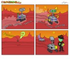 Mars Rover Opportunity Red Zone Cartoon