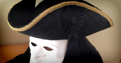 Photo of Tricorn Hat with Venetian Mask and Hood